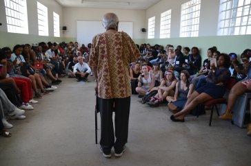 Ahmed Kathrada speaks to young leaders on Robben Island during a leadership camp hosted by the Kathrada Foundation