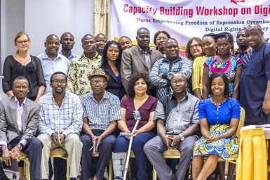 "Group photo of participants during the AFEX workshop, ""Empowering Freedom of Expression Organisations in Africa for Effective Digital Rights Advocacy"", from 23-24 January 2016 in Accra, Ghana"